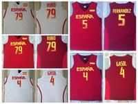 7dc135261c8 Basketball Men Sleeveless 2016 RIO Spain Team Jersey 5 Fernandez 4 Pau  Gasol Spain Basketball Jerseys