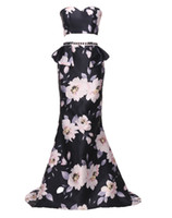 Wholesale Chinese Two Piece Dress - 2017 Fashion New Chinese Printing Celebrity Party Dresses Two Pieces Prom Dresses Sheer Backless Floor Length Evening Formal Gowns