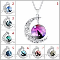 Wholesale Moon Gem - Wolf Totem Necklace Crescent Moon Hollow Carved Necklace with Multicolor Time Gem Cabochon Pendant By Hcish Jewelry H0591
