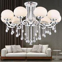 Wholesale Glass Crystal Chandelier Shades - New LED 9 Shades Glass Shade Crystal Ceiling Light Lamp Lighting modern fashion Chandelier Circular lamps dining room bedroom Ceiling Light