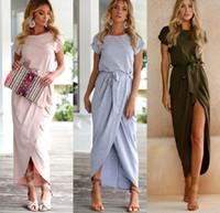 Wholesale Summer Cotton Short Sleeve Dresses - Dresses for woman long bandage short sleeve pure color slim sexy split after short before long vestidos summer beach shirt crew neck cotton