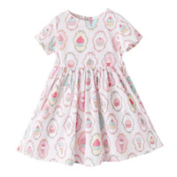 Wholesale Teenage Clothing Wholesalers - Cute Ice Cream Printed Baby Girls Clothes Short Sleeve Children Knee-Length Dress Summer Teenage Girls Dresses