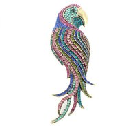 broche de cristal de oro antiguo al por mayor-Estilo Vintage Antique Crystal Multicolor Gold-Tone Parrot Brooch