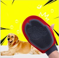 Wholesale Double Side Cleaner - Dog Hair Remover Massage Bath Double Sided Grooming Gloves Cleaning Brush Pet Supplies Brush Combs Dog Cleaning Massage KKA2343