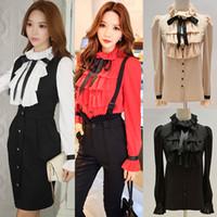 Wholesale Black Tie Neck Blouse - DABUWAWA Women Ruffled Neck Long Puff Sleeve Slim Shirt Bow Tie Top Blouses