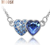 Wholesale Double Ended Charms - 2017 new 1000SE Quality goods woman Double heart Crystal Necklace High-end Pendant Ornaments wholesale jewelry sale