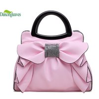 Wholesale Genuine Leather Bow Bag Women - Wholesale-2016 Fashion Genuine Leather Women Bag Famous Brand Handbags For Lady Big Bow Women Shoulder Bags Sweet Simple Tote Bag DL0134