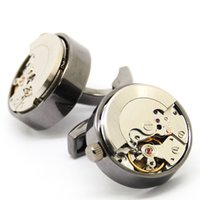 Barato Relógio De Punho De Prata Atacado-Multicolor Watch Movement Black Cuff Links Silver Gravity Cuffinks Cufflink Box Atacado Factory Price Top Quality Hot Sale