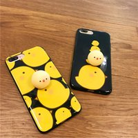 Wholesale Cover Iphone Chick - Lovely 3D Soft cartoon Chick phone Cases For iphone 6 6s 6plus 7 7Plus environmental Soft TPU phone back cover