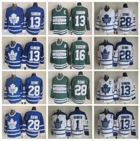 Wholesale White Men S Ties - Throwback 28 Tie Domi Jersey Toronto Maple Leafs Hockey 13 Mats Sundin 1 Johnny Bower 16 Darcy Tucker Vintage Classic Blue White Green