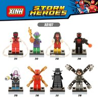 120pcs Mix Lot Super Heroes Minifig Spideman Docteur Octopus Spider-Woman Green Goblin Superman Bat Figure X0107 Mini Building Blocks Figures
