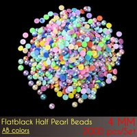 Wholesale Flat Craft Beads Free Shipping - Craft ABS Imitation Pearls Half Round Flatback Pearls Flat Back Half Pearl Beads 4mm AB Color 5000pcs Set with free shipping