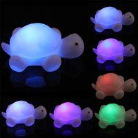 Wholesale Night Light Led Turtle Lamp - Turtle LED toys 7 Colours Night light Lamp Party Christmas Decoration Colorful