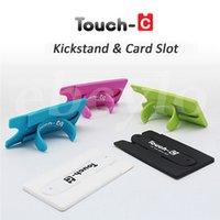 Wholesale Bracket C - Universal Touch-C Smart Phone Holder Portable Finger Touch with Card Slot Stander Sticker Bracket Mounts Stents Silicone For Iphone Samsung