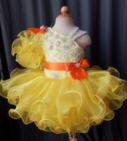 vestidos de menina de flor de criança pequena venda por atacado-Mais recente Mini Curto vestido de Baile Tutu Cupcake Little Kids Toddler Pageant Vestidos Amarelo Frisado Babados Flor Meninas Vestidos