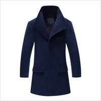 Wholesale New Autumn Stand Up - Wholesale- New Autumn Winter Woolen Coat Korean Version Slim Male Casual Stand-up Collar Cardigan Long Section Coat Solid Color 80% Wool