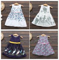 Wholesale Striped Purple Girl Dress - Kids clothing Girls dresses Children clothing Boutique 12 Styles 2017 summer girls prints florals dress 100%cotton Princess 2-7years