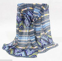 Wholesale Mixed Scarves Silk Flower - New Style 2017 Fancy Georgette Silk Scarfs Shawls Muffler Sarongs Flowers Pattern Muffler Printed Scarves Mix 4Colors 10pic lot