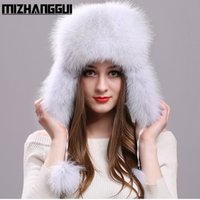 Wholesale Top Trapper Hats Men - Wholesale- Fluffy Fox Fur Snow Caps for Girls Women's Real Fur Hat for The Winter Waterproof Cloth Tops Real Fox Fur Hat with Ear Flaps