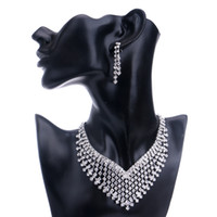 Wholesale Earings Sets - 2017 Hot!New Fshion Bridesmaid Europe Jewelry Sets Rhinestone Necklace Earriry sets For Bridesmaid Exquisite Necklace and Earings Jewely