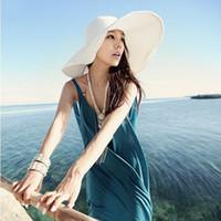 Wholesale Ladies Brimmed Hats - 100PCS LOT 2017 Fashion Summer Women's Ladies' Foldable Wide Large Brim Floppy Beach Hat Sun Straw Hat Cap