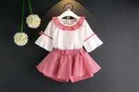 Wholesale Short Sleeve Check - Girls Outfits Summer Kids Clothing Set Plaid bow Flare Sleeve Tops + Check Shorts 2pcs Suits Sweet Children Clothes C710