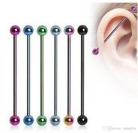 ingrosso piercing del chiodo-1PC Ear Nail Bone Barbell Orecchino Piercing helix Ear Stud Trago Ear Piercing Nero Argento Oro Cartilagine Anello Per Uomo Donna