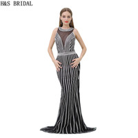 Silver Beaded Black Evening Dress Luxo Shinny Crystals Long Mermaid Sheer Neck Mulheres Vestido de festa formal New B017