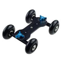 Wholesale track video slider - Tabletop Mobile Rolling Slider Dolly Car Skater Video Track Rail for Speedlite DSLR Camera Camcorder Rig (Black)