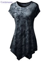 Wholesale Long Tunic Shirt Wholesale - Wholesale-Summer Top t-shirt Women Print tshirt Short Sleeve O-Neck Tie-Dye Long Tunic Top Irregular Hem T-shirt Loose Feamel Tops NTX015