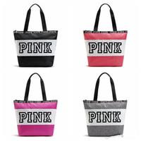 Wholesale Cheap Fashion Handbags Wholesale - Pink Letter Handbags Fashion Secret VS Shoulder Bags Cheap Women Love Large Capacity Travel Duffle Striped Waterproof Beach Bag Shoulder Bag