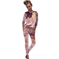 Wholesale Women S Soft Robes - Wholesale- 2017 Spring Velvet Jumpsuit Women Casual long Sleeved Round Neck Women Bodysuit Slim Solid Chic Soft Ladies Rompers Robe Dec8