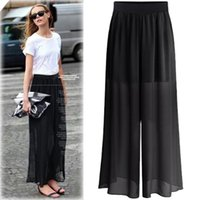 Wholesale Tall Wide Leg Pants - In the summer of 2017 new tall waist wide-legged pants women's pure color big yards slacks leisure wide-legged pants