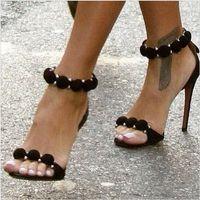 Wholesale Kardashian Shoes - 2017 Kim Kardashian High heel Sandals Suede T-Strap Woman Gladiator Sandals Sexy Summer Lady Party Shoes