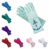 Wholesale Wholesale Gloves Fingers - PrettyBaby 9 colors glitter powder print children party gloves elsa coronation gloves Elsa And Anna Princess Gloves For Party the_one