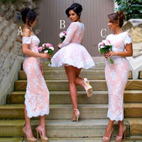 Wholesale Womens Wedding Gowns - 2017 New V-neck Lace Appliques Satin Short Womens Ball Gown Bridesmaid Dresses Long Sleeves Wedding Party Dress For Bridal Gowns