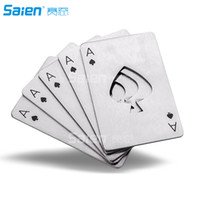 Wholesale playing cards poker size - New Bar Tool Bottle Soda Beer Cap Opener Gift Playing Card Ace of Spades Poker Credit Card Size Casino Bottle Opener