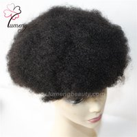 Wholesale Lace Wigs Hair Pieces - Soft Feeling Men Toupee Afro Curl Units Swiss Lace Systems Brazilian Natural Hair Piece For Negro Men Hair Replacement Free Shipping