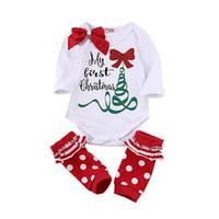 Wholesale Long Sleeve Bodysuit 3t - 2017 New Arrive Autumn Cute Newborn Baby Girl Long Sleeve Bow Romper Bodysuit Sock Outfits Clothes Christmas