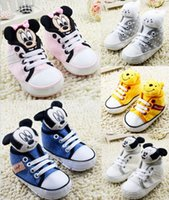 Wholesale Pooh Ribbon - 2017 Ribbon bow baby shoes Cartoon Winnie the Pooh plush fabric princess indoor sport toddler Newborn shoes Cute high quality walking shoes