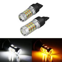 Wholesale Led Light Bulb Flashing - LEEWA Xenon White Amber No Hyper Flash 7443 2835 Chip 42SMD Switchback LED Bulbs For Front Turn Signal Lights #5313