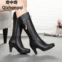 Wholesale Zip Line Heels - 2017 Winter Women's Genuine Leather High-heeled Boots, Wool Lined Half Boots, Fashion High Quality Motorcycle Boots, Free Shipping
