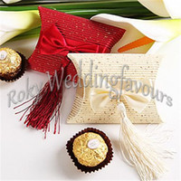 Wholesale N Ribbon - Free Shipping 50PCS Pillow Favor Boxes W  Ribbon Bow n Tassel Bridal Shower Wedding Party Table Decoration Gift Boxes Event Party Favors