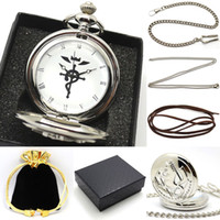 Wholesale Antique Pocket Watch Set - Wholesale- 2016 New Pocket Watch Set Fullmetal Alchemsit Edward Silver Antique Fob Watches With Gift Box Necklace Chain Leather Strap Gifts