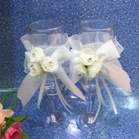 Wholesale Decorating Glass Cups - Wholesale- Wedding Flower Bowknot Bride Groom Wine Glass Cup Cover Decorated 2pcs White Free Shipping