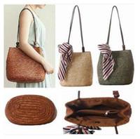 Wholesale Wholesale Wood Straws - Women Handbags Bohemian Style Wood Beading Wheat Straw Woven Shoulder bag Silk Scarf Beach bag Girl Travel Messenger Bag Free Shipping