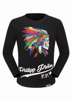 Wholesale Leopard Print T Shirt Men - New Style 2017 Summer Hot Sell Men's Round Neck Long Sleeve Sweatshirt T-shirts Cotton Diamond Skull Tiger Leopard Print Men Tee Shirts
