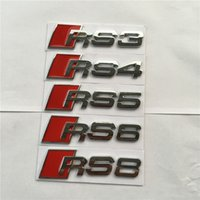 Wholesale Rs6 Badge - Car-styling RS3 RS4 RS5 RS6 RS8 Rear Trunk Badge Emblem Wholebody Decal Sticker for Audi A3 A5 A4L A6L A8 Q3 Q5 Q7