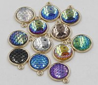 Wholesale Gold Charms Fit Bracelet - 12MM Gold Scales Pendant Bottom setting Accessories Scale charm Pendant DIY Jewelry Making fit for necklace and bracelet ER742