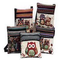 Wholesale Owl Handbag Backpack - cute Cartoon Owl Print Messenger Bags Canvas Female Shoulder Bags Double Zipper Women Mini Flap Shoulder Handbags for kids